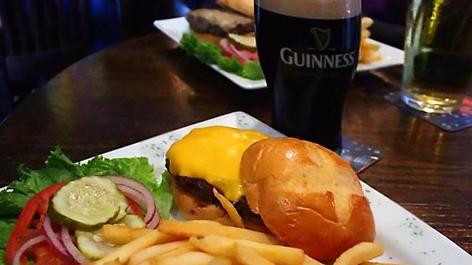 Burger Fries and Guinness Beer